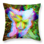 Bearded Iris Cultivar - Use Red-cyan 3d Glasses Throw Pillow