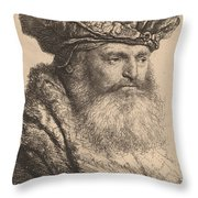 Bearded Man In A Velvet Cap With A Jewel Clasp Throw Pillow