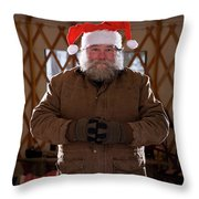 Bearded Man With Christmas Hat Throw Pillow