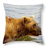 Bear's Eye View Of Swimming Grizzly In Moraine River In Katmai Throw Pillow