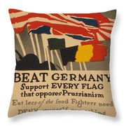 Beat Germany Throw Pillow by Adolph Treidler