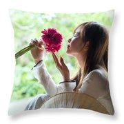 Beautiful Asian Woman With Flowers - Vietnam Throw Pillow