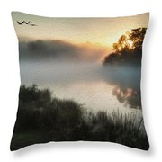 Beautiful Autumnal Landscape Image Of Birds Flying Over Misty Lake Digital Painting Throw Pillow