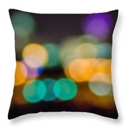 Beautiful Background On Dark Out Of Focus Lights During The Nig Throw Pillow