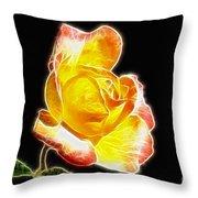 Beautiful Blooming Yellow Rose Throw Pillow