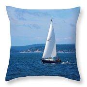 Beautiful Boat Sailing At Puget Sound Throw Pillow
