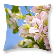 Beautiful Bougainvillea Flowers Against Blue Sky Throw Pillow
