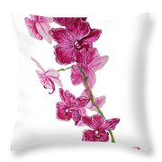Beautiful Burgundy Orchid Flower Original Floral Painting Pink Orchid I By Megan Duncanson Madart Throw Pillow