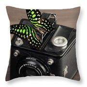 Beautiful Butterfly On A Kodak Brownie Camera Throw Pillow