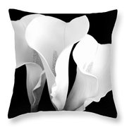Beautiful Calla Lilies In Black And White Throw Pillow