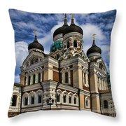 Beautiful Cathedral In Tallinn Estonia Throw Pillow