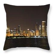 Beautiful Chicago Skyline With Fireworks Throw Pillow by Adam Romanowicz