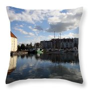Beautiful Clouds Over Motlawa River - Gdansk Throw Pillow