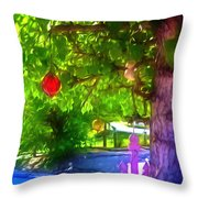 Beautiful Colored Glass Ball Hanging On Tree 1 Throw Pillow
