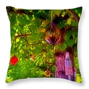 Beautiful Colored Glass Ball Hanging On Tree 2 Throw Pillow