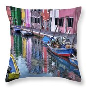 Beautiful Colors Of Burano Throw Pillow