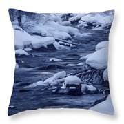 Beautiful Creek In Winter In Stanley Idaho Throw Pillow