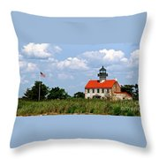 Beautiful Day At East Point Lighthouse  Throw Pillow