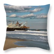 Beautiful Day At The Beach Throw Pillow by Sami Martin