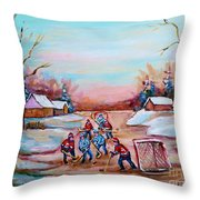 Beautiful Day For Pond Hockey Winter Landscape Painting  Throw Pillow