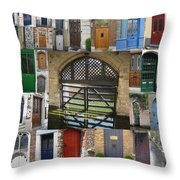 Beautiful Doors In London France And Belgium Throw Pillow by Cathy Jacobs