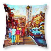 Beautiful  Downtown City Stroll  Cafe Paintings Montreal Restaurants On Crescent Street C Spandau Throw Pillow