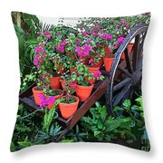 Beautiful Flower Wagon Throw Pillow