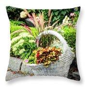 Beautiful Flowers In Basket Throw Pillow