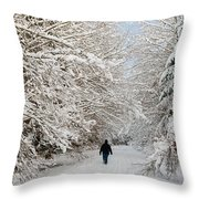 Beautiful Forest In Winter With Snow Covered Trees Throw Pillow
