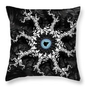 Beautiful Fractal Artwork Black White And Blue Throw Pillow