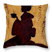 Beautiful Geisha Coffee Painting Throw Pillow