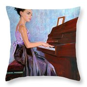 Beautiful Girl Playing Piano Throw Pillow