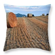 Beautiful Golden Hour Hay Bales Sunset Landscape Throw Pillow