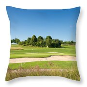Beautiful Green Golf Course And Blue Sky Throw Pillow