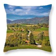 Beautiful Green Scenery Of Prigorje Region Throw Pillow