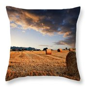 Beautiful Hay Bales Sunset Landscape Digital Paitning Throw Pillow