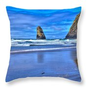 Beautiful Haystack Rock And The Needles Throw Pillow