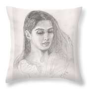Beautiful Indian Woman Throw Pillow
