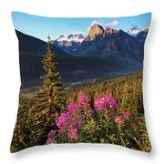Rocky Mountains Sunset Throw Pillow