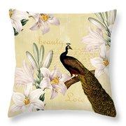 Beautiful Lilies Peacock Throw Pillow