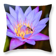 Beautiful Lily And Visiting Bee Throw Pillow