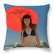 Beautiful Model At Sutro Baths In San Francisco V Throw Pillow
