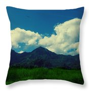 Beautiful Mountain White Could.. Blue Sky Throw Pillow
