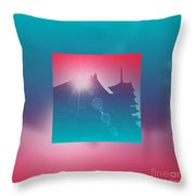 Beautiful Pagoda And Temple Silhouette At Sunrise Throw Pillow