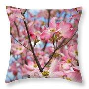 Beautiful Pink Dogwood Tree Flowers Throw Pillow