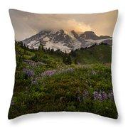 Beautiful Rainier Wildflower Meadows Throw Pillow
