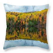 Beautiful Reflections Of A Autumn Forest In A Lake Throw Pillow