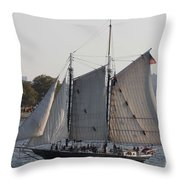 Beautiful Sailboat In Manhattan Harbor Throw Pillow