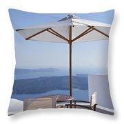 Beautiful Santorini View Throw Pillow