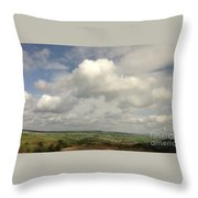 White Clouds Over Yorkshire Dales Throw Pillow